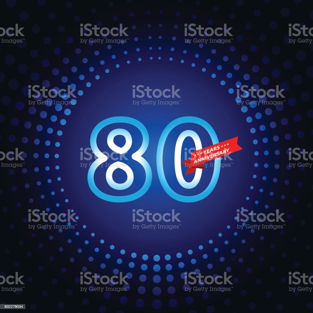 Eighty years anniversary icon with blue color background vector art illustration