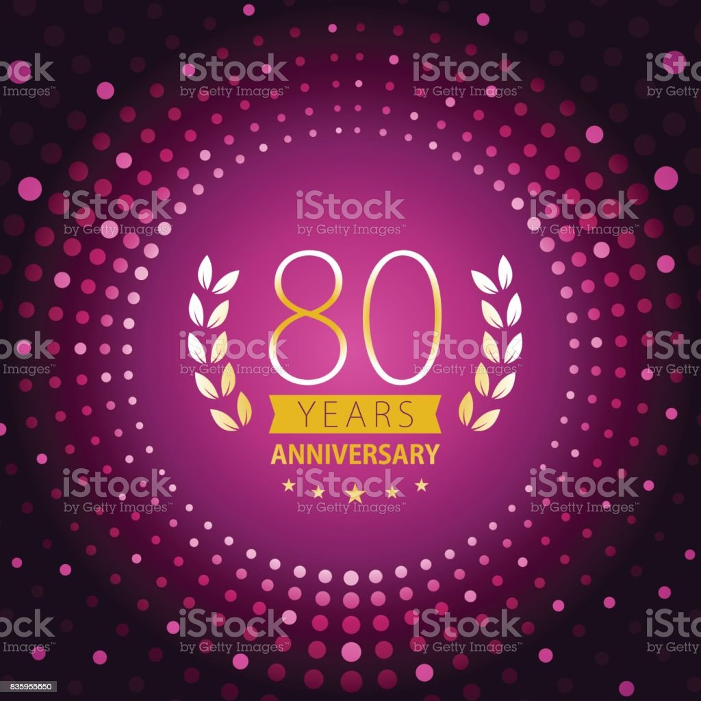 Eighty years anniversary icon with purple color background vector art illustration