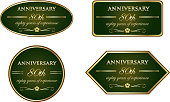 Eighty years of experience, luxury green and gold vintage anniversary label collection.