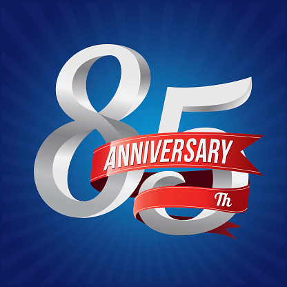 eighty-five years anniversary  with red ribbon, 85th years celebration
