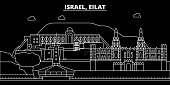 Eilat silhouette skyline. Israel - Eilat vector city, israeli linear architecture, buildings. Eilat travel illustration, outline landmarks. Israel flat icon, israeli line banner