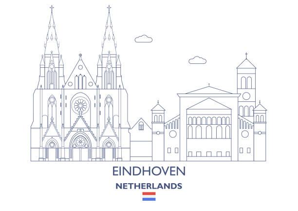 stockillustraties, clipart, cartoons en iconen met eindhoven city skyline, nederland - eindhoven