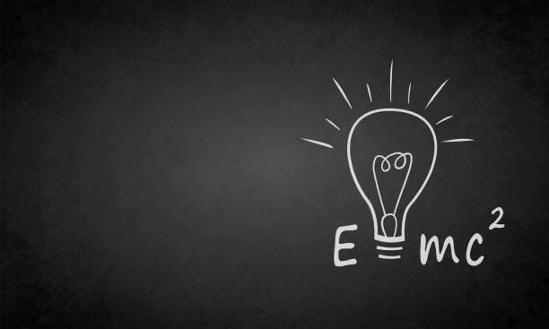 stockillustraties, clipart, cartoons en iconen met einstein formula e = mc2 op een grungy blackboard - e learning