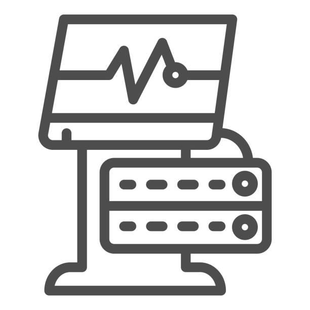 ilustrações de stock, clip art, desenhos animados e ícones de ekg device line icon. medical monitor vector illustration isolated on white. electrocardiogram machine outline style design, designed for web and app. eps 10. - diálise