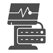 Ekg device solid icon. Medical monitor vector illustration isolated on white. Electrocardiogram machine glyph style design, designed for web and app. Eps 10