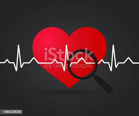 Ekg Heart. Heartbeat symbol and magnifying glass. Medical design, Pulse rate of heart on dark background