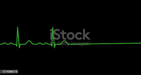 istock Ekg line. Heart stops beating. Death. 1214084215