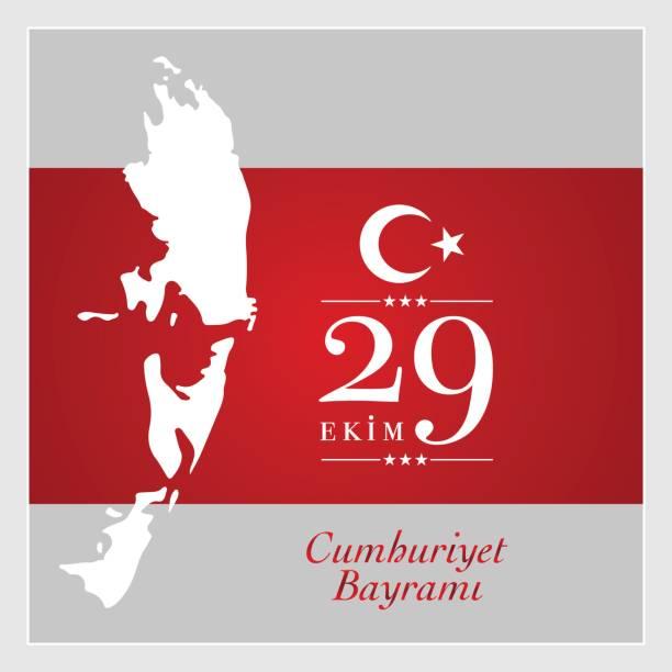 ilustrações, clipart, desenhos animados e ícones de ekim 29 cumhuriyet bayrami.  dia 29 de outubro nacional república da turquia - 25 30 anos