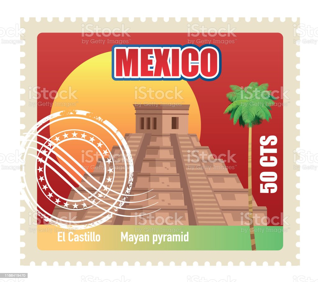 El Castillo Stamp, Mayan Pyramid - Royalty-free Ancient stock vector