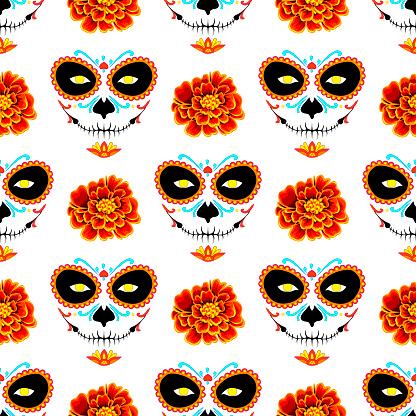 El Día de Los Muertos seamless pattern. La muerte and marigold on a white background