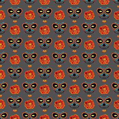 El Día de Muertos seamless pattern. Halloween pattern. La muerte and marigold