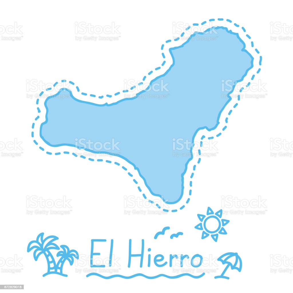 El Hierro Island Map Isolated Cartography Concept Canary Islands