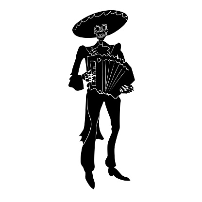 El mariachi skeleton musician. Dia de los muertos haracter with accordion. Black and white isolated silhouette with contour. Vector illustration for halloween.
