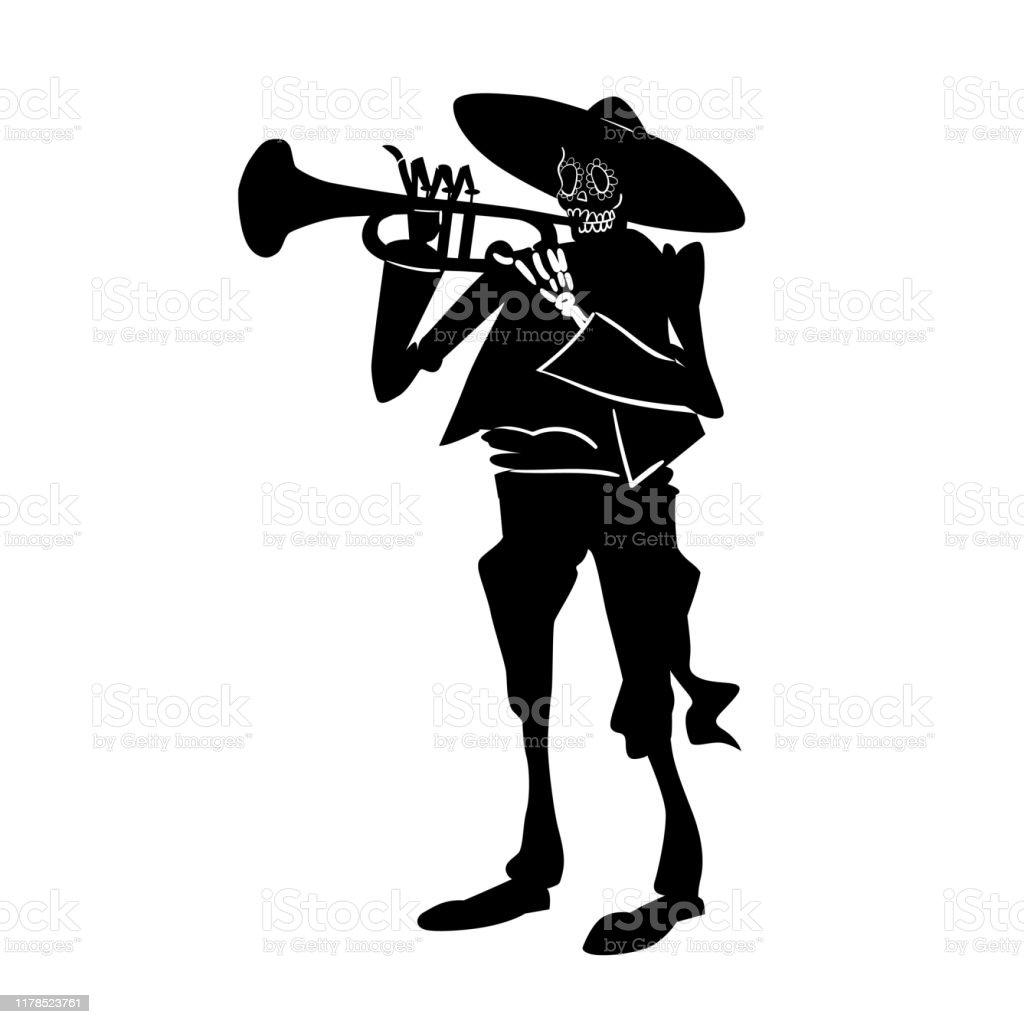 El Mariachi Skelett Musiker Dia De Los Muertos Trumpetare Karaktar Svart Och Vit Isolerad Silhuett Med Kontur Vektor Illustration For Halloween Vektorgrafik Och Fler Bilder Pa Alla Helgons Dag Istock