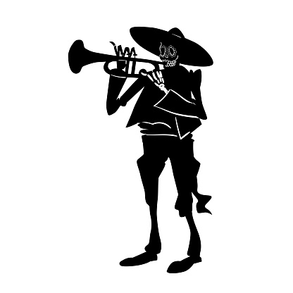 El mariachi skeleton musician. Dia de los muertos trumpeter character. Black and white isolated silhouette with contour. Vector illustration for halloween.