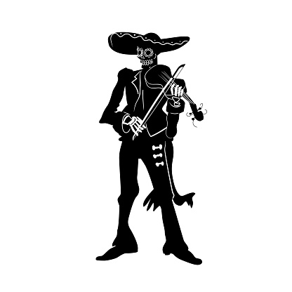 El mariachi skeleton musician. Dia de los muertos violinist character. Black and white isolated silhouette with contour. Vector illustration for halloween.