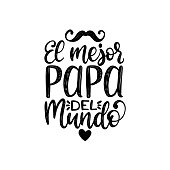 El Mejor Papa Del Mundo, hand lettering. Translation from Spanish Worlds Greatest Dad. Fathers Day vector calligraphy.