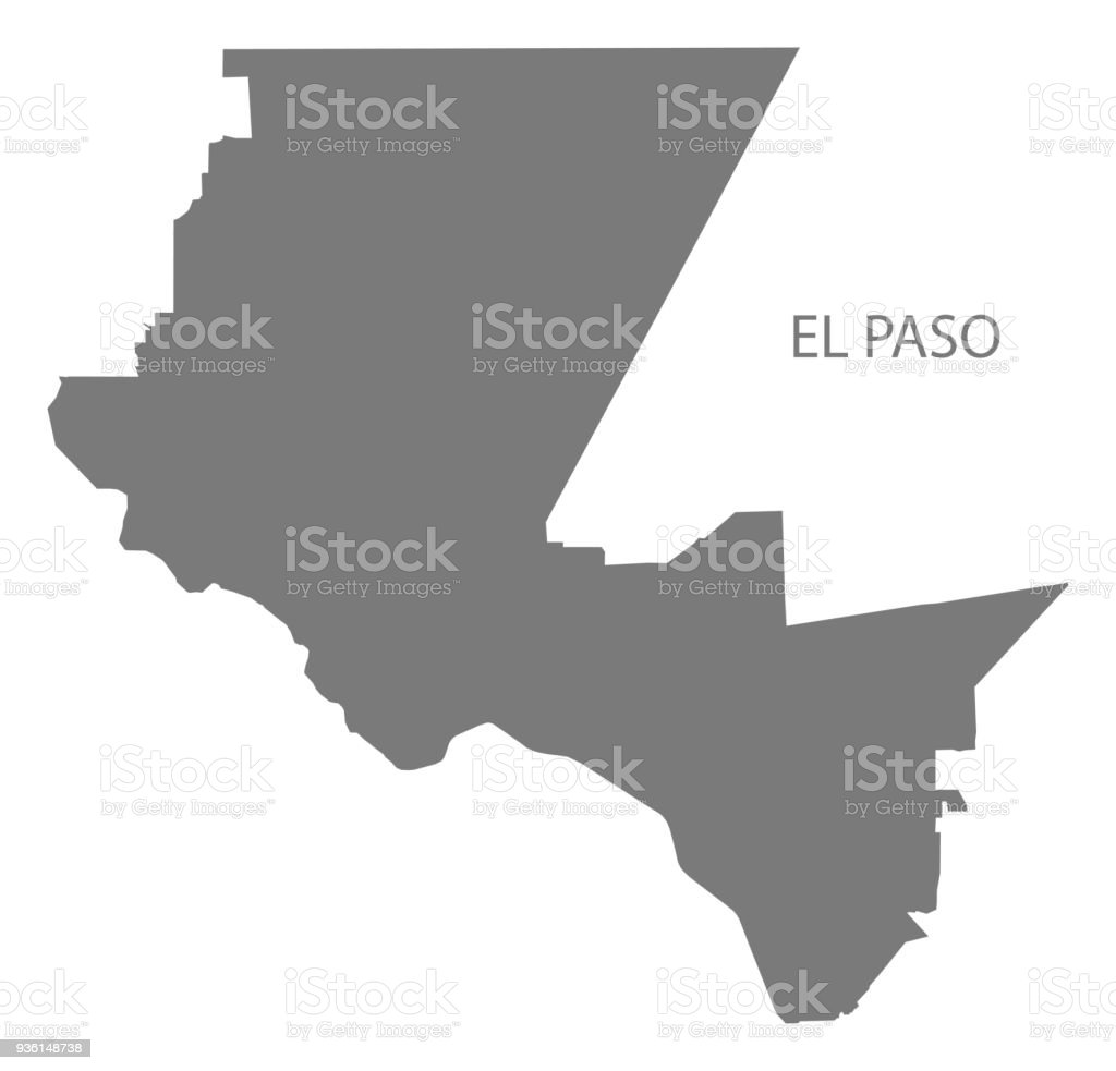 El Paso Texas City Map Grey Illustration Silhouette Shape ...