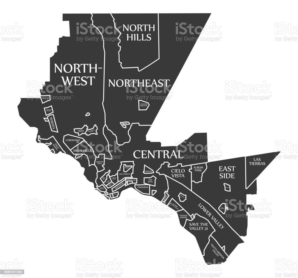 el paso texas city map usa labelled black illustration royalty free el paso texas city
