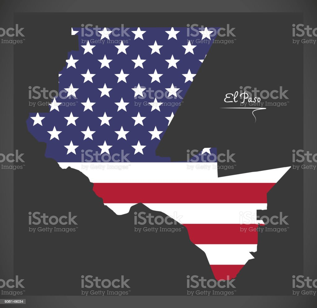 El Paso Texas map with American national flag illustration vector art illustration