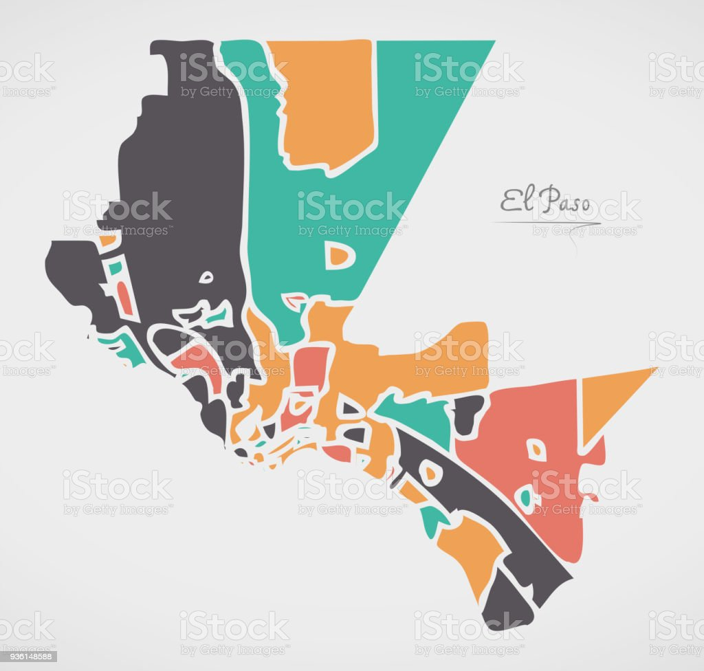 El Paso Texas Map With Neighborhoods And Modern Round Shapes Stock ...