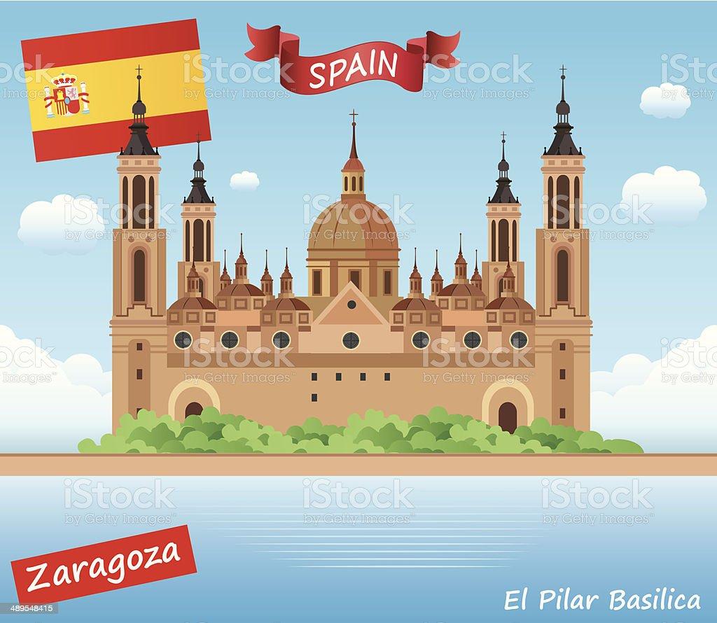 El Pilar Basilica, Zaragoza vector art illustration