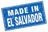 El Salvador blue square grunge made in stamp