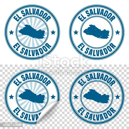 Map of El Salvador on a blue sticker and a blue rubber stamp. They are composed of the map in the middle with the names around, separated by stars. The stamp at the top right is created in a vintage style, a grunge texture is added to create a vintage and realistic effect. Vector Illustration (EPS10, well layered and grouped). Easy to edit, manipulate, resize or colorize. Please do not hesitate to contact me if you have any questions, or need to customise the illustration. http://www.istockphoto.com/portfolio/bgblue