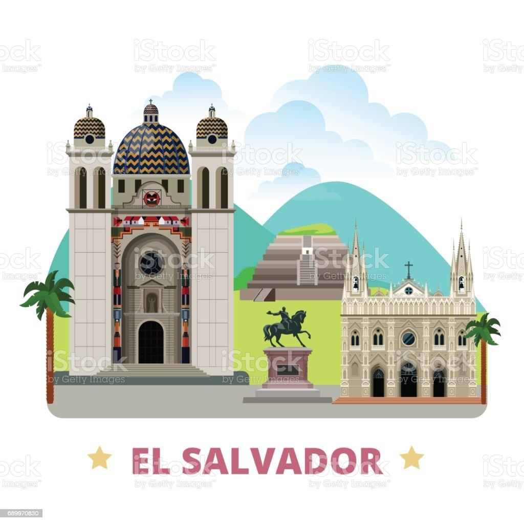 El Salvador country flat cartoon style historic sight showplace web vector illustration. World vacation travel America collection. San Salvador Cathedral of Santa Ana Tazumal Gerardo Barrios Statue - ilustração de arte em vetor