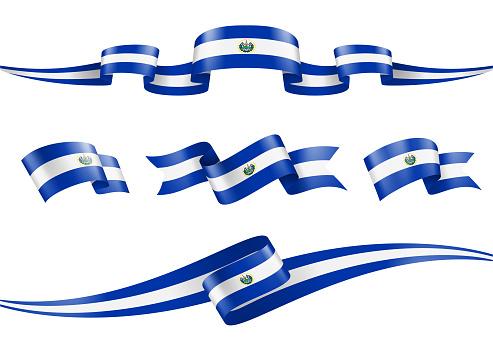 El Salvador flag Ribbon Set - Vector Stock Illustration