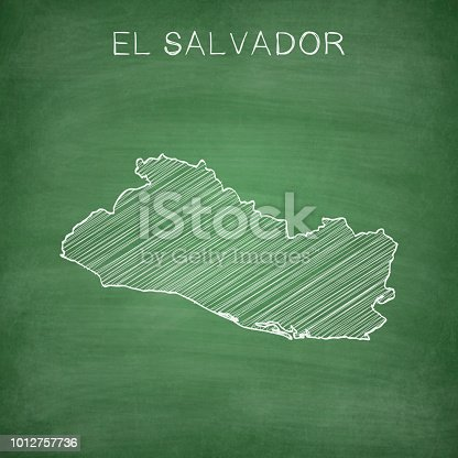 Map of El Salvador drawn in chalk on a green chalkboard with chalk traces. Vector Illustration (EPS10, well layered and grouped). Easy to edit, manipulate, resize or colorize. Please do not hesitate to contact me if you have any questions, or need to customise the illustration. http://www.istockphoto.com/portfolio/bgblue