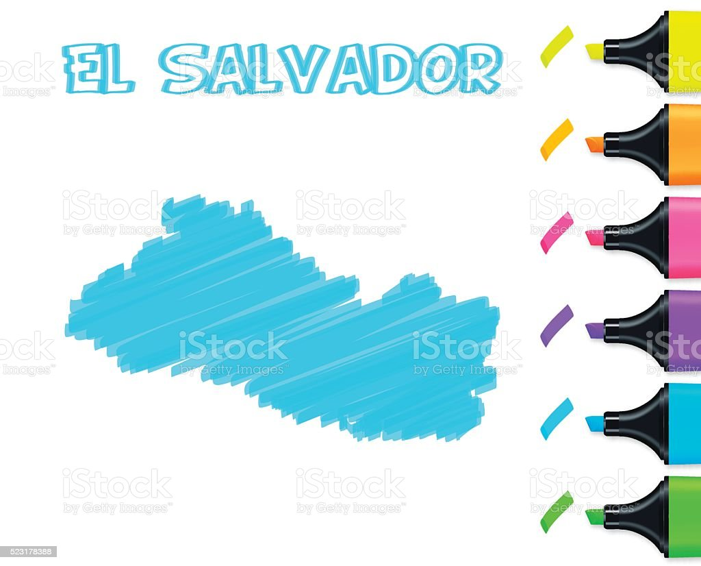 El Salvador Map Hand Drawn On White Background Blue Highlighter ...