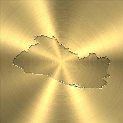El Salvador map on gold background - Circular brushed metal texture