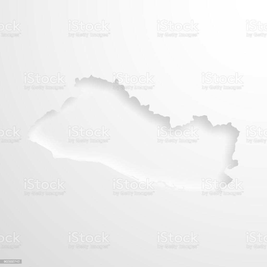 Karte Von El Salvador Mit Geprägtem Papier Wirkung Auf Leeren ...