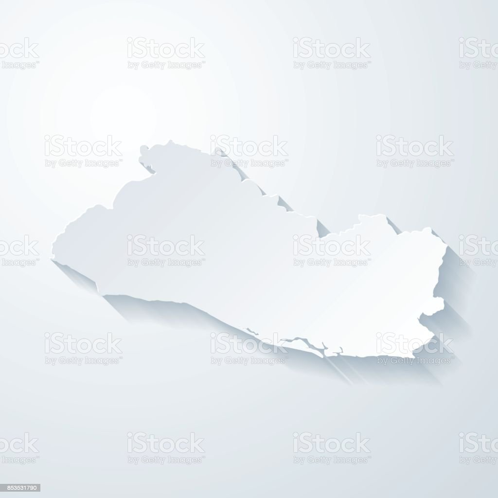 El Salvador Map With Paper Cut Effect On Blank Background ...