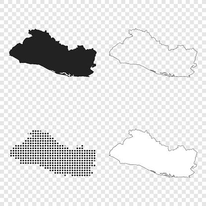 El Salvador maps for design - Black, outline, mosaic and white