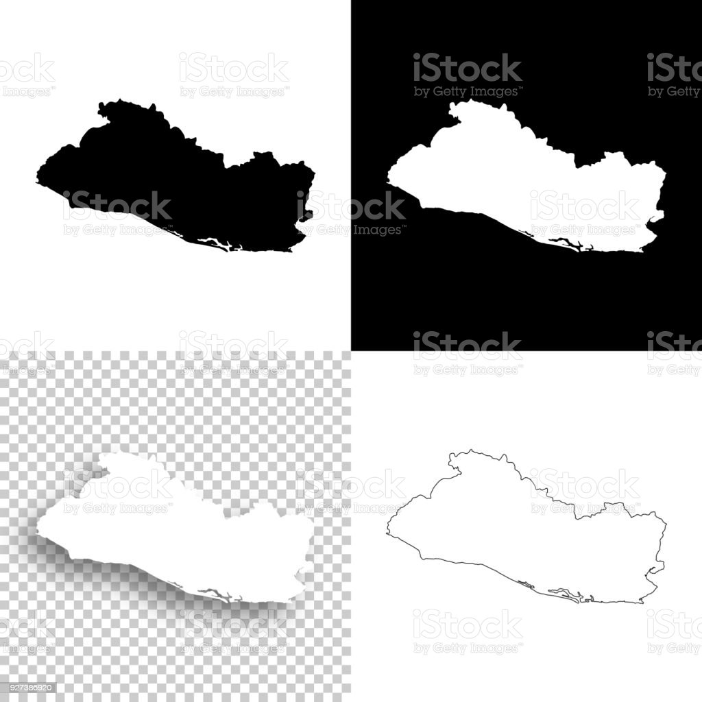 El Salvador Maps For Design Blank White And Black Backgrounds Stock ...
