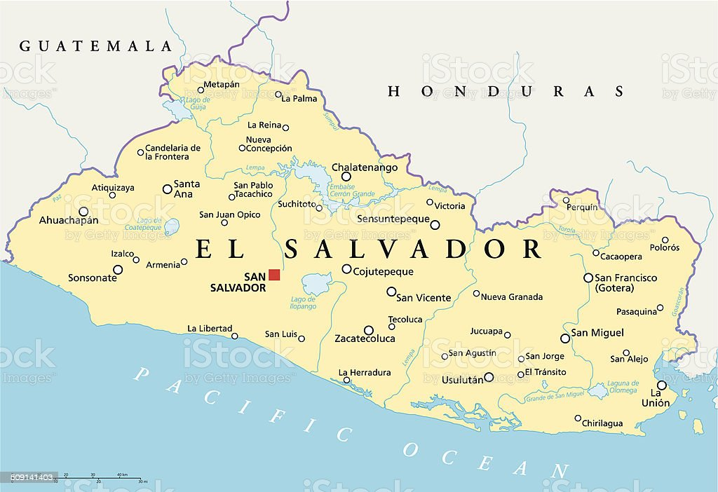 El Salvador Political Map Stock Vector Art IStock - Political map of guatemala