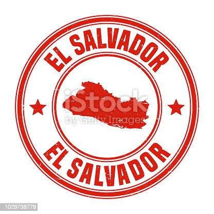 Map of El Salvador on a red rubber stamp in vintage style. The stamp is composed of the map in the middle with the names around, separated by stars. A grunge texture is added to create a vintage and realistic effect. Vector Illustration (EPS10, well layered and grouped). Easy to edit, manipulate, resize or colorize.