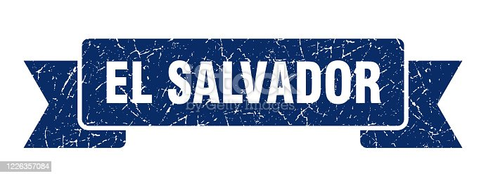El Salvador ribbon. Blue El Salvador grunge band sign