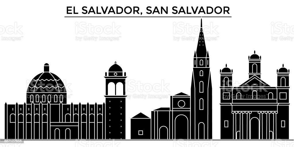 El Salvador, San Salvador skyline de cidade de vetor arquitetura, viajar a vista da cidade com monumentos, edifícios, locais isolados no fundo - ilustração de arte em vetor