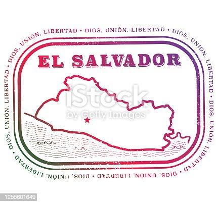 El Salvador Vintage Travel Stamp