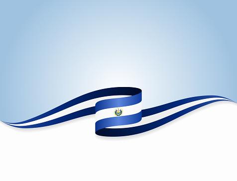 El Salvadoran flag wavy abstract background. Vector illustration.