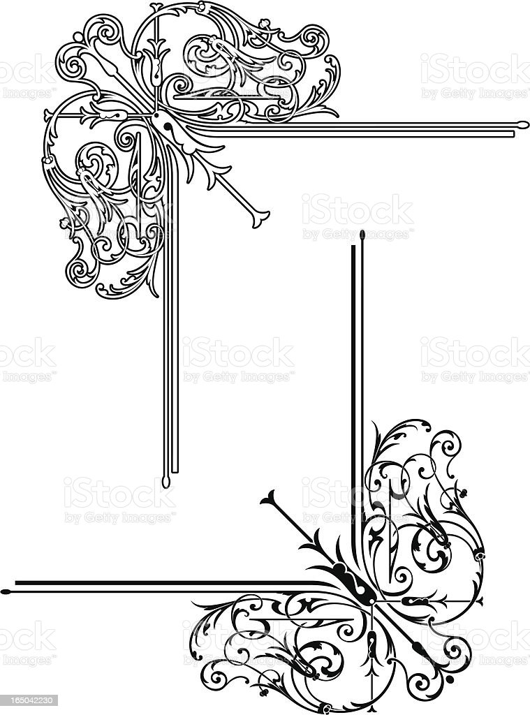 Elaborate Corner Scroll royalty-free elaborate corner scroll stock vector art & more images of angle