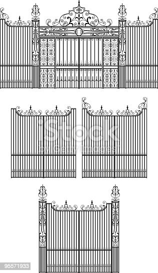 istock Elaborate Wrought Iron Gate Set 95571933