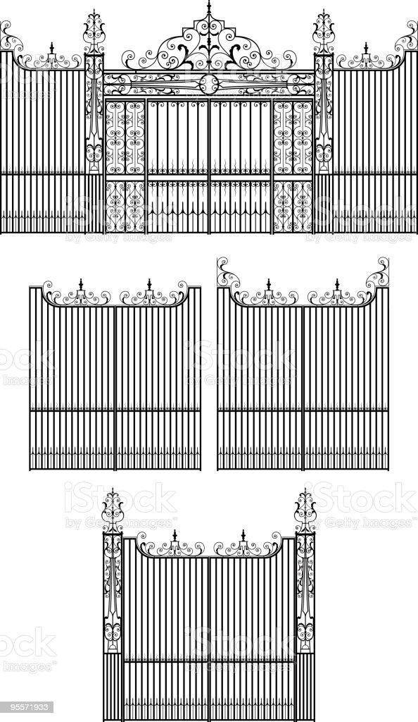 Elaborate Wrought Iron Gate Set vector art illustration