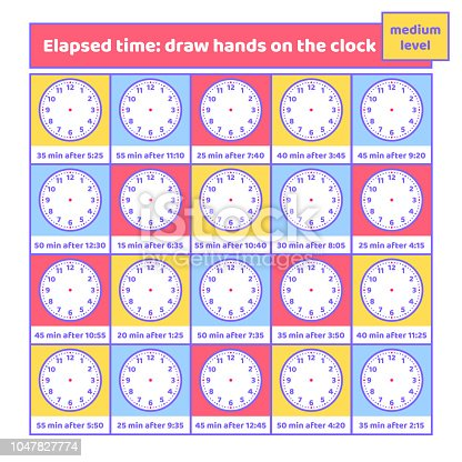 elapsed time draw hands on the clock worksheet for kids addition and understanding time puzzle. Black Bedroom Furniture Sets. Home Design Ideas