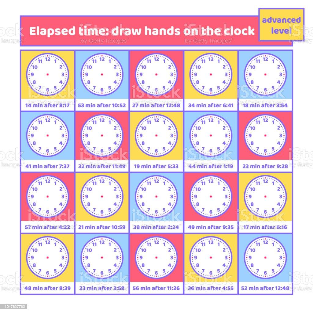 Verstrichene Zeit Zeichnen Hände Auf Die Uhrarbeitsblatt Für Kinder ...