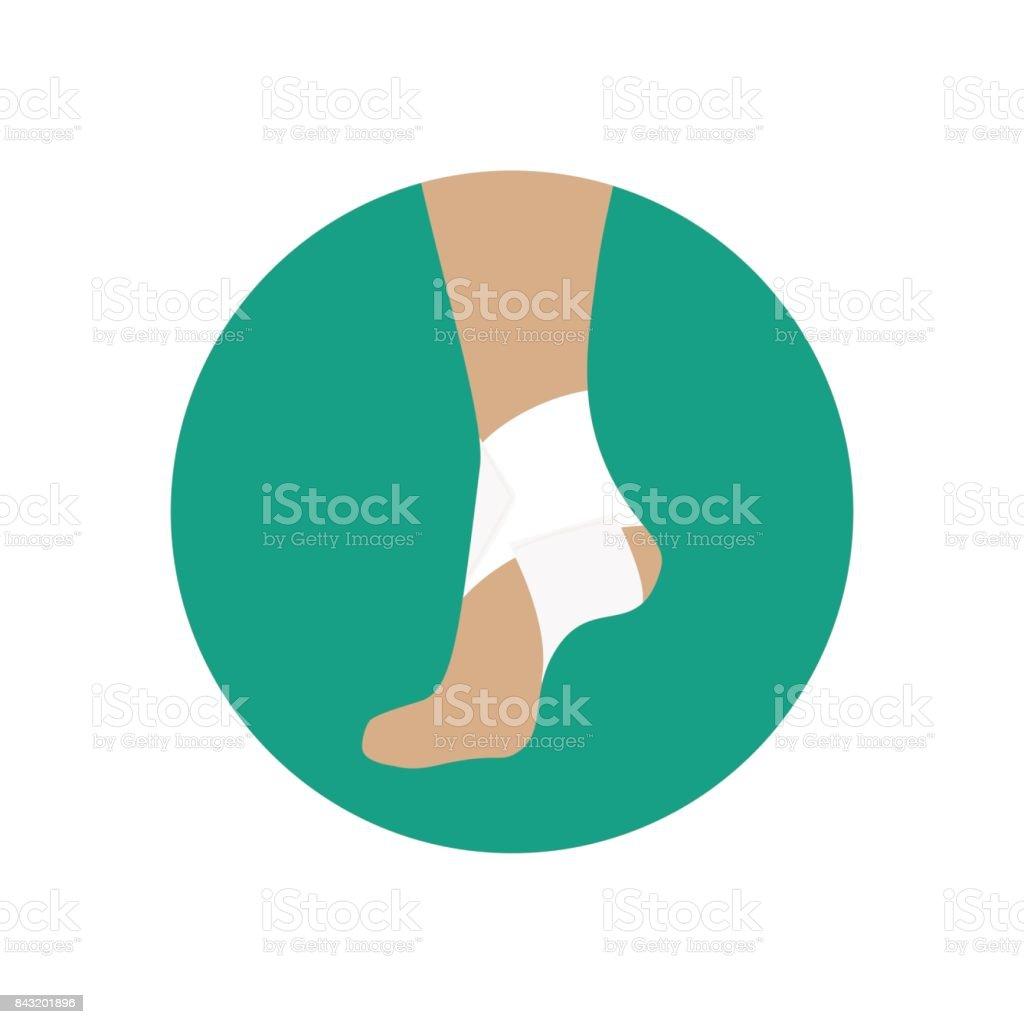 Elastic bandage for the ankle joint vector art illustration
