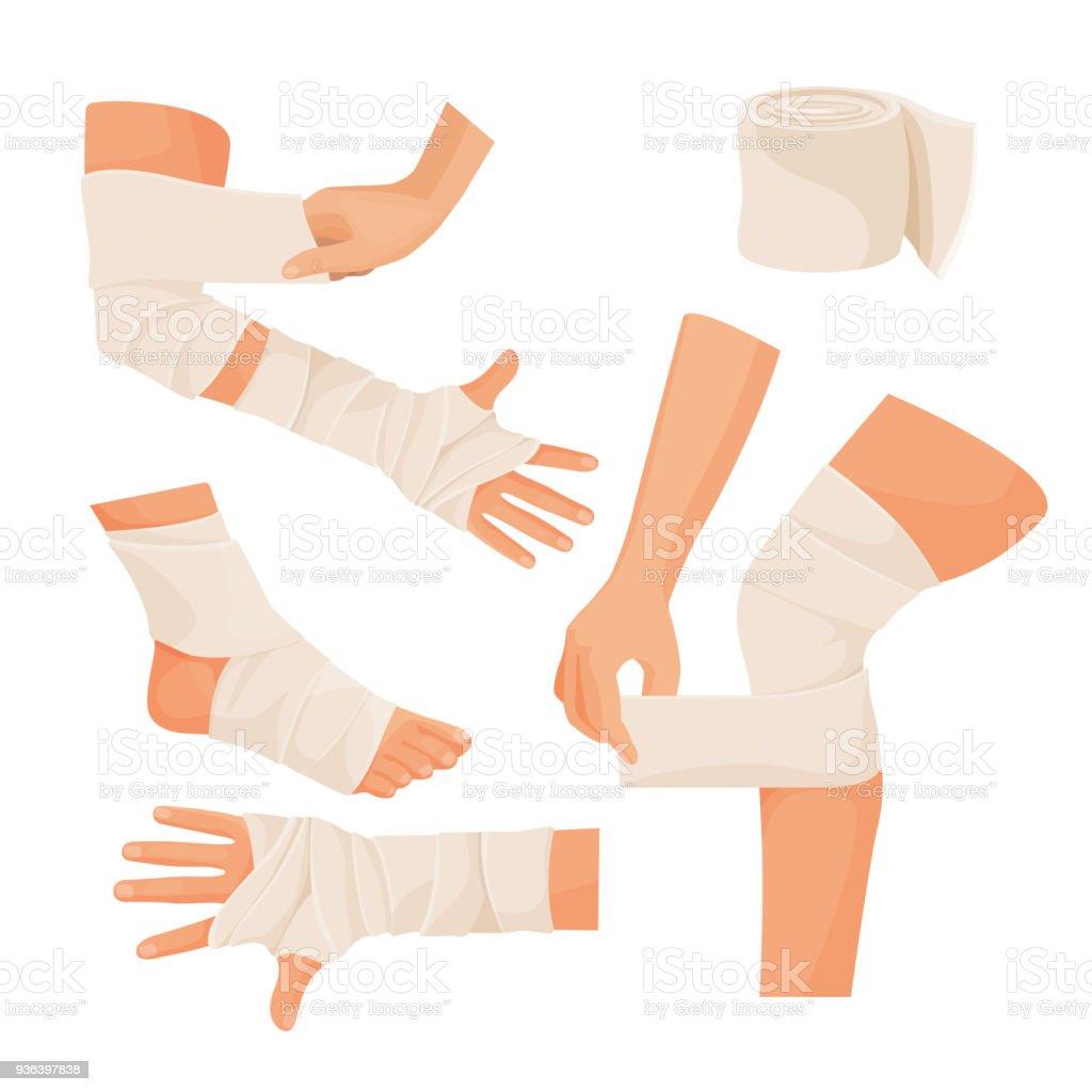 Elastic bandage on injured human body parts set vector art illustration